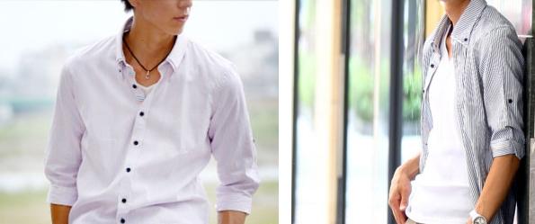 七分袖カラフルボーダーシャツ