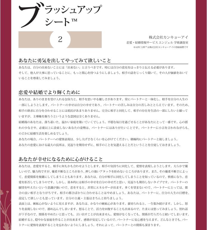 恋愛・結婚情報サービス エンジェル ブラッシュアップシート2