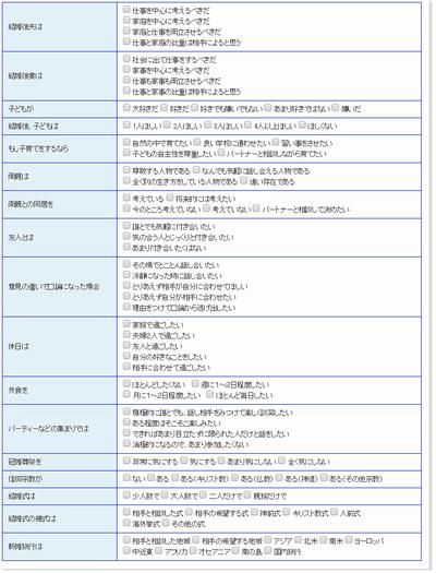 恋愛・結婚情報サービス エンジェル 価値観検索画面