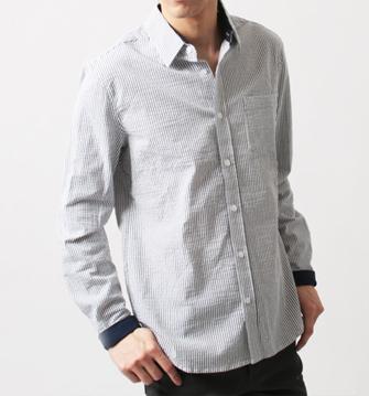 春 男性モテ服ストライプシャツ