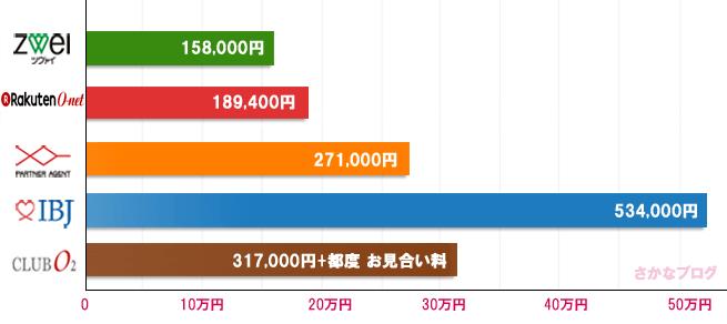 6ヶ月成婚時の費用の比較グラフ