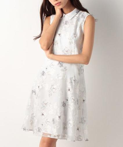 夏デート服、襟付きワンピース