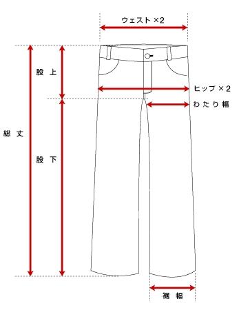 パンツの寸法の量り方